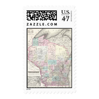 Vintage Map of Wisconsin (1855) Postage