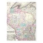 Vintage Map of Wisconsin (1855) Postcard
