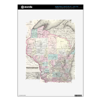 Vintage Map of Wisconsin (1855) Decals For iPad 3