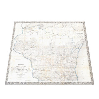 Vintage Map of Wisconsin (1856) Canvas Print