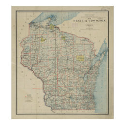 Vintage Map of Wisconsin (1895) Poster