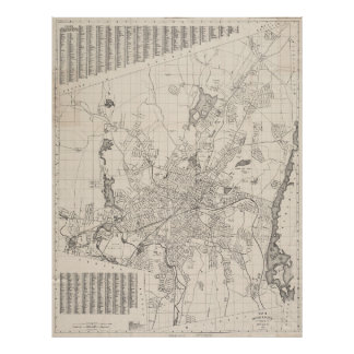 Vintage Map of Worcester Massachusetts (1919) Poster