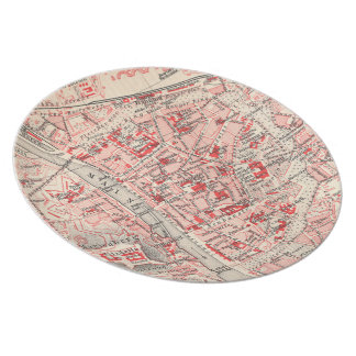 Vintage Map of Wurzburg Germany (1905) Dinner Plate