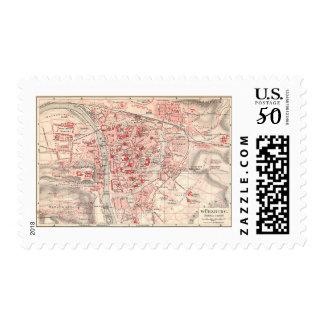 Vintage Map of Wurzburg Germany (1905) Postage