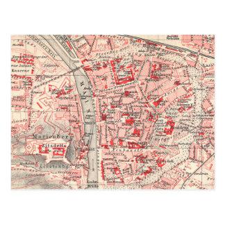 Vintage Map of Wurzburg Germany (1905) Postcard