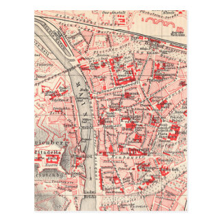 Vintage Map of Wurzburg Germany (1905) Postcard