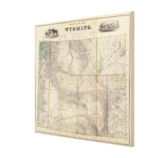 Vintage Map of Wyoming (1883) Canvas Print
