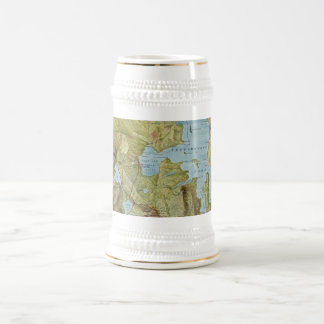 Vintage Map of Yellowstone National Park (1898) Beer Stein