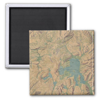 Vintage Map of Yellowstone National Park (1914) 2 Inch Square Magnet
