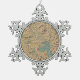 Vintage Map of Yellowstone National Park (1914) Snowflake Pewter Christmas Ornament