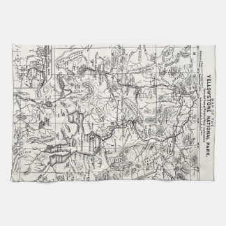 Vintage Map of Yellowstone National Park Hand Towels