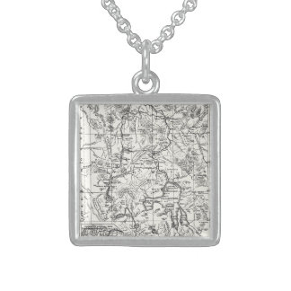 Vintage Map of Yellowstone National Park Square Pendant Necklace