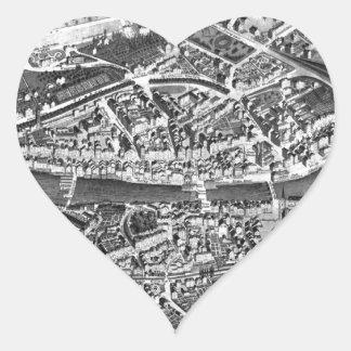 Vintage Map of Zurich Switzerland (1850) Heart Sticker