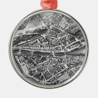 Vintage Map of Zurich Switzerland (1850) Metal Ornament