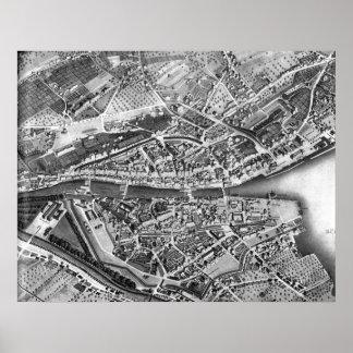 Vintage Map of Zurich Switzerland (1850) Poster