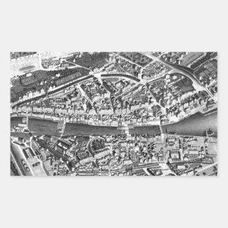Vintage Map of Zurich Switzerland (1850) Rectangular Sticker