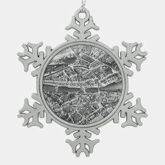 Vintage Map of Zurich Switzerland (1850) Snowflake Pewter Christmas Ornament