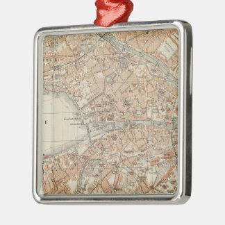 Vintage Map of Zurich Switzerland (1913) Metal Ornament