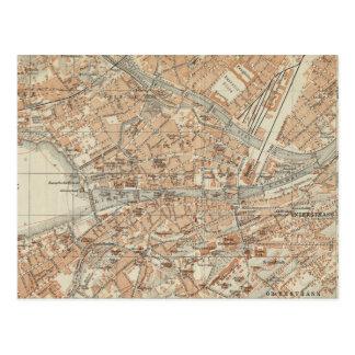 Vintage Map of Zurich Switzerland (1913) Postcard