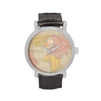 Vintage map old world antique globe hipster wristwatch
