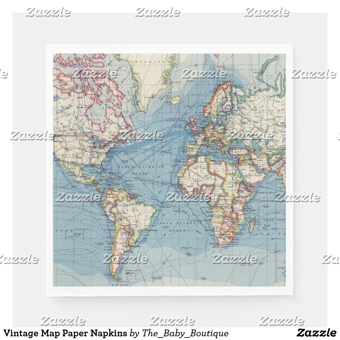 Vintage Map Paper Napkins