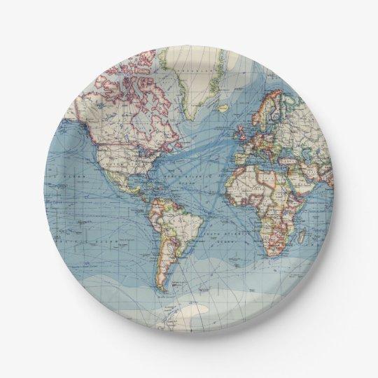 Vintage Map Paper Plates  sc 1 st  Zazzle & Vintage Map Paper Plates | Zazzle.com