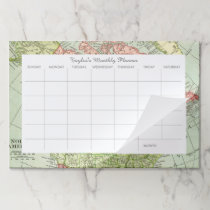 Vintage Map Personalized Desk Pad Monthly Calendar
