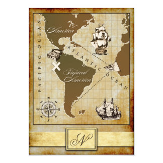 Vintage Map Pirate Birthday Party Invitations