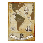 Vintage Map Pirate Birthday Party RSVP Cards Announcements