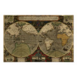 Vintage Map Poster - 1595 Hondius World Map