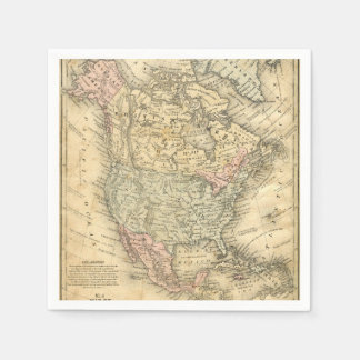 Vintage Map Print of North America Napkin