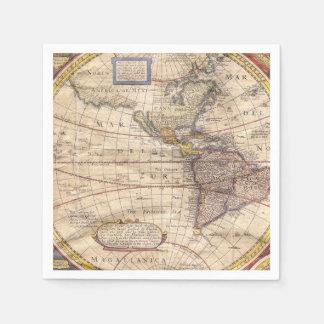 Vintage Map Print Paper Napkin