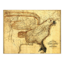 Vintage map representing America as an Eagle Postcard