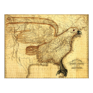 Vintage map representing America as an Eagle Post Cards