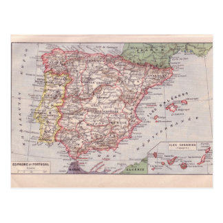 Vintage map, Spain and Portugal, circa 1920 Postcard