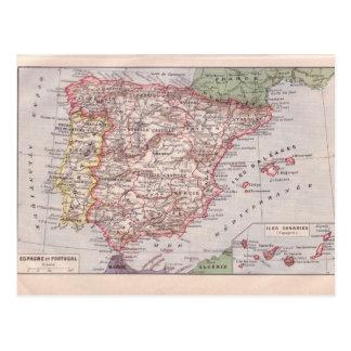 Vintage map, Spain and Portugal, circa 1920 Postcard