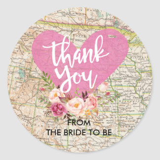 Vintage Map Thank You Sticker