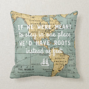 Travel quote pillows decorative throw pillows zazzle vintage map travel quotes throw pillow gumiabroncs Choice Image