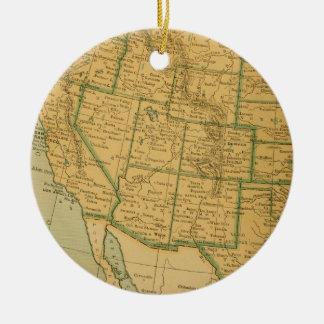 Vintage Map United States Ceramic Ornament