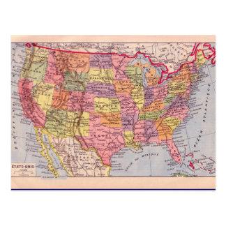 Vintage map United States circa 1920 Post Card