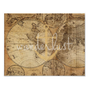 Vintage Map Wanderlust Anchor Print