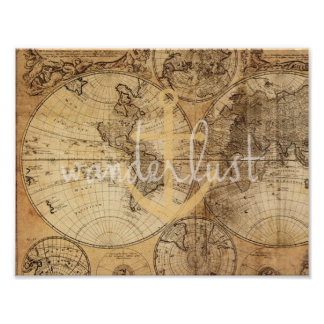 Vintage Map Wanderlust Anchor Print
