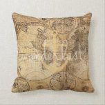 "Vintage Map Wanderlust Anchor Throw Pillow<br><div class=""desc"">Perfect for a dorm or bedroom,  this pillow features a vintage map,  and the word &quot;Wanderlost&quot; backed by an anchor.</div>"