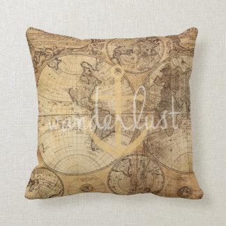 Vintage Map Wanderlust Anchor Throw Pillow
