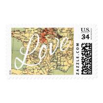 Vintage Map Wedding Love Script Typography Postage Stamp