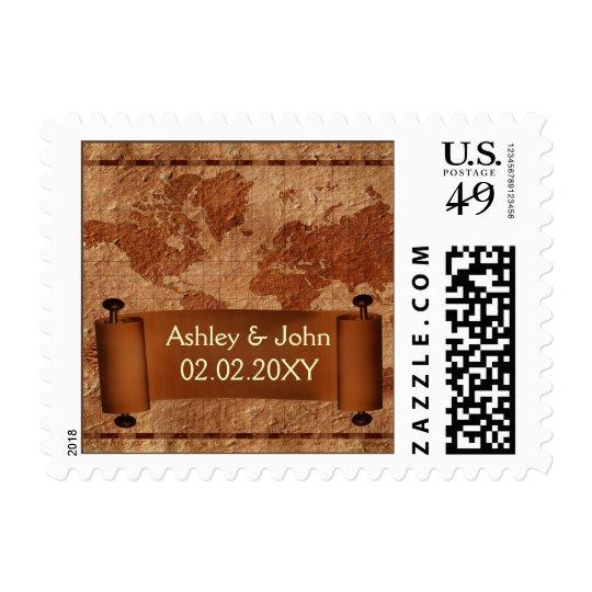 vintage map wedding stamps