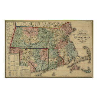 Vintage mapa de Massachusetts 1879 y de Rhode Isla Posters
