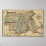 Vintage mapa de Massachusetts 1879 y de Rhode Isla Póster