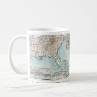 Vintage mapa del sudeste de los E.E.U.U. y del Taza Clásica
