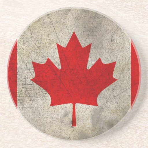Vintage Maple Leaf Canadian Flag Drink Coasters | Zazzle